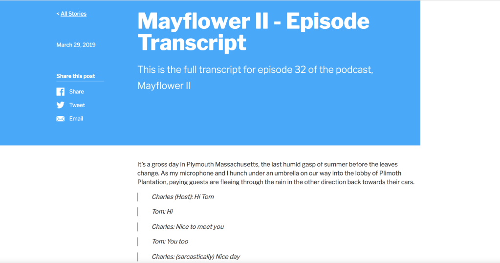 An example of a Podsite article page