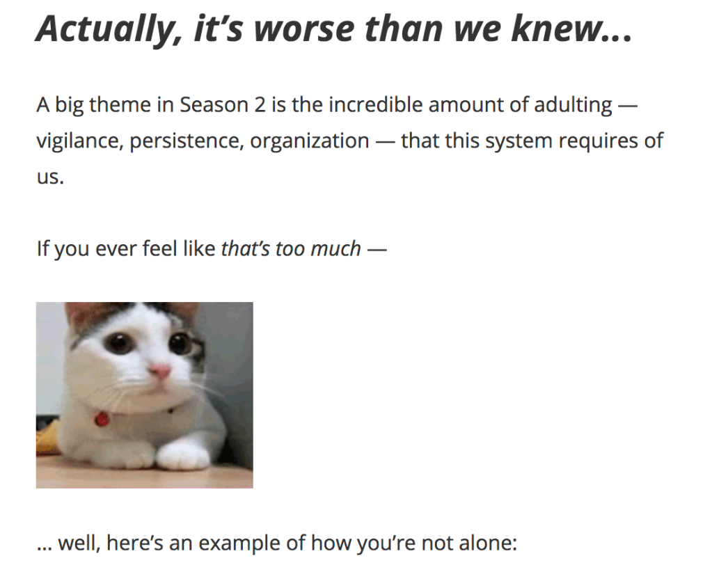 Screenshot from An Arm and a Leg newsletter updating their audience on season two.