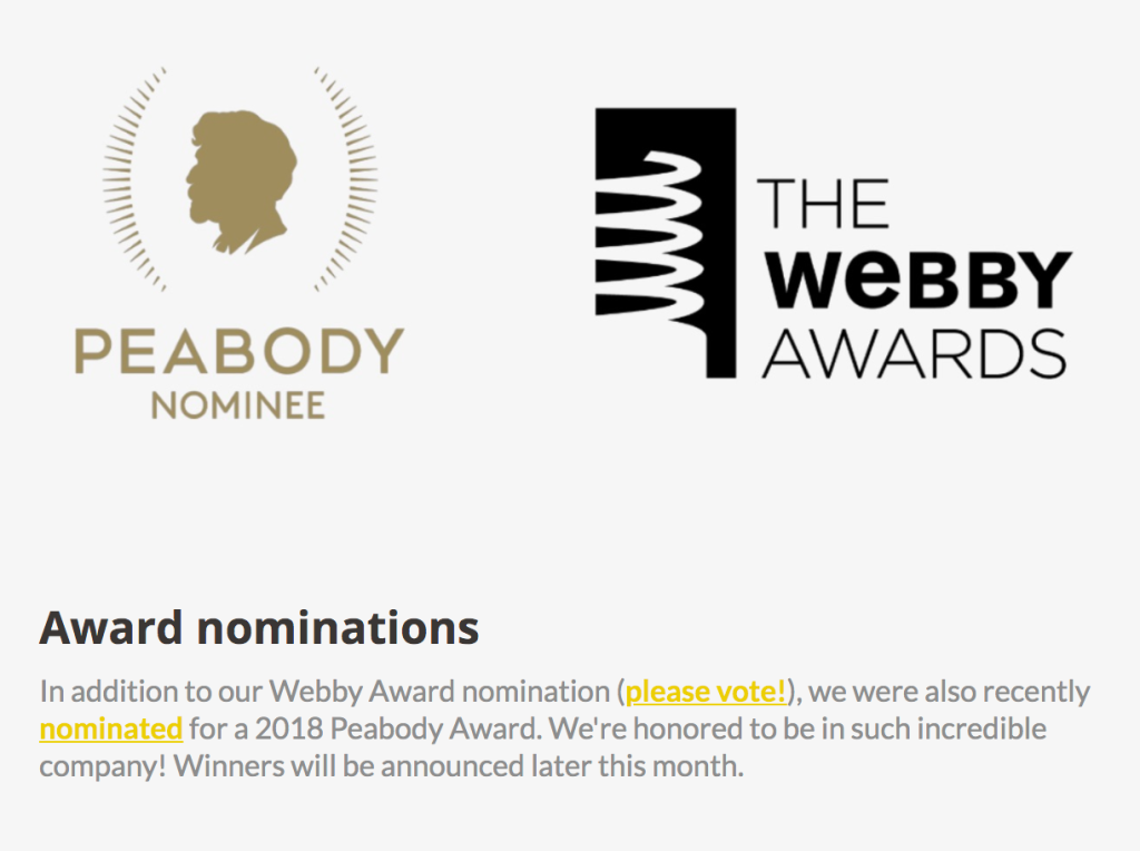 Screenshot of Ear Hustle's newsletter announcing Webby and Peabody award nominations